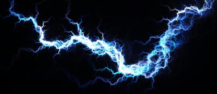 Electric Blue – Digital fractal of hot blue lightning, electrical background.